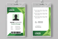 Corporate Id Card Template With Abstract Green intended for Work Id Card Template