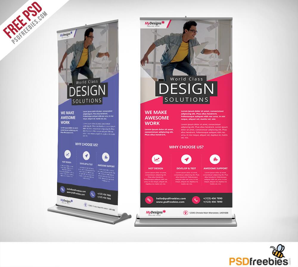 Corporate Outdoor Roll-Up Banner Free Psd | Psdfreebies regarding Outdoor Banner Design Templates