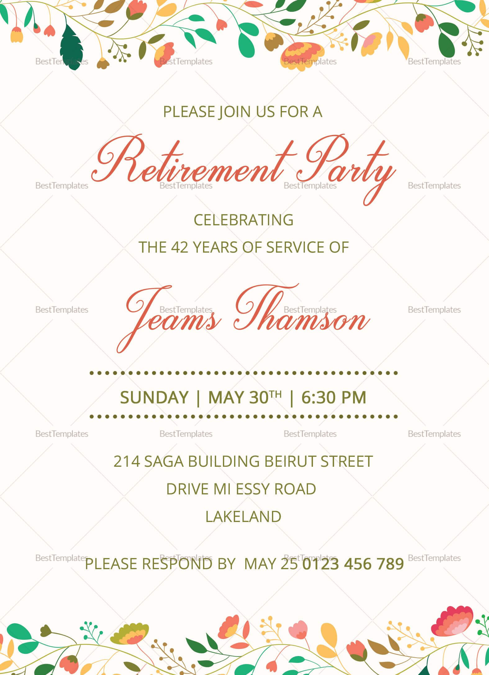Corporate Retirement Party Invitation Template | Retirement In Retirement Card Template