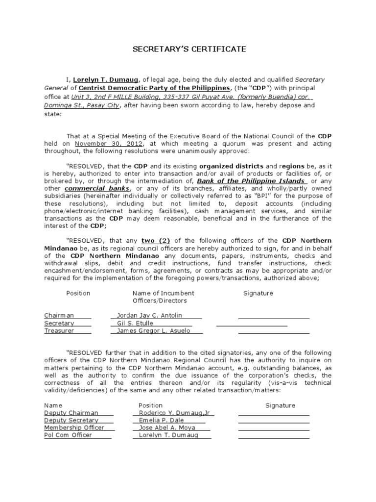 Corporate Secretary Certificate Template - Atlantaauctionco In Corporate Secretary Certificate Template