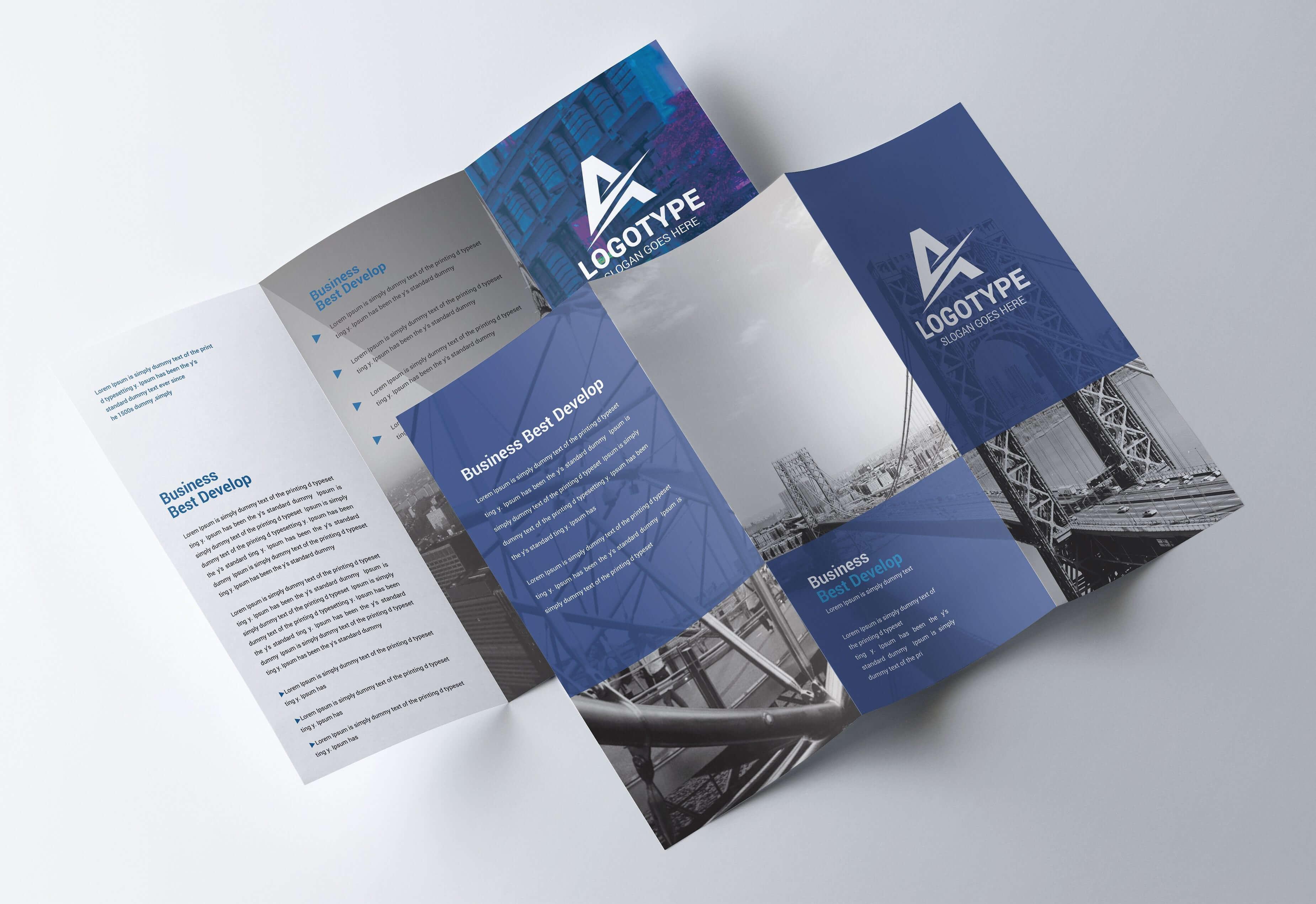 Corporate Tri-Fold Brochure - Psd Template - Free Psd Flyer in Brochure Psd Template 3 Fold