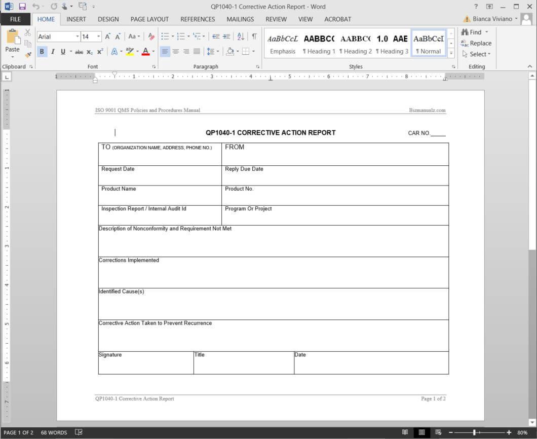 Corrective Action Report Iso Template | Qp1040-1 regarding Non Conformance Report Form Template