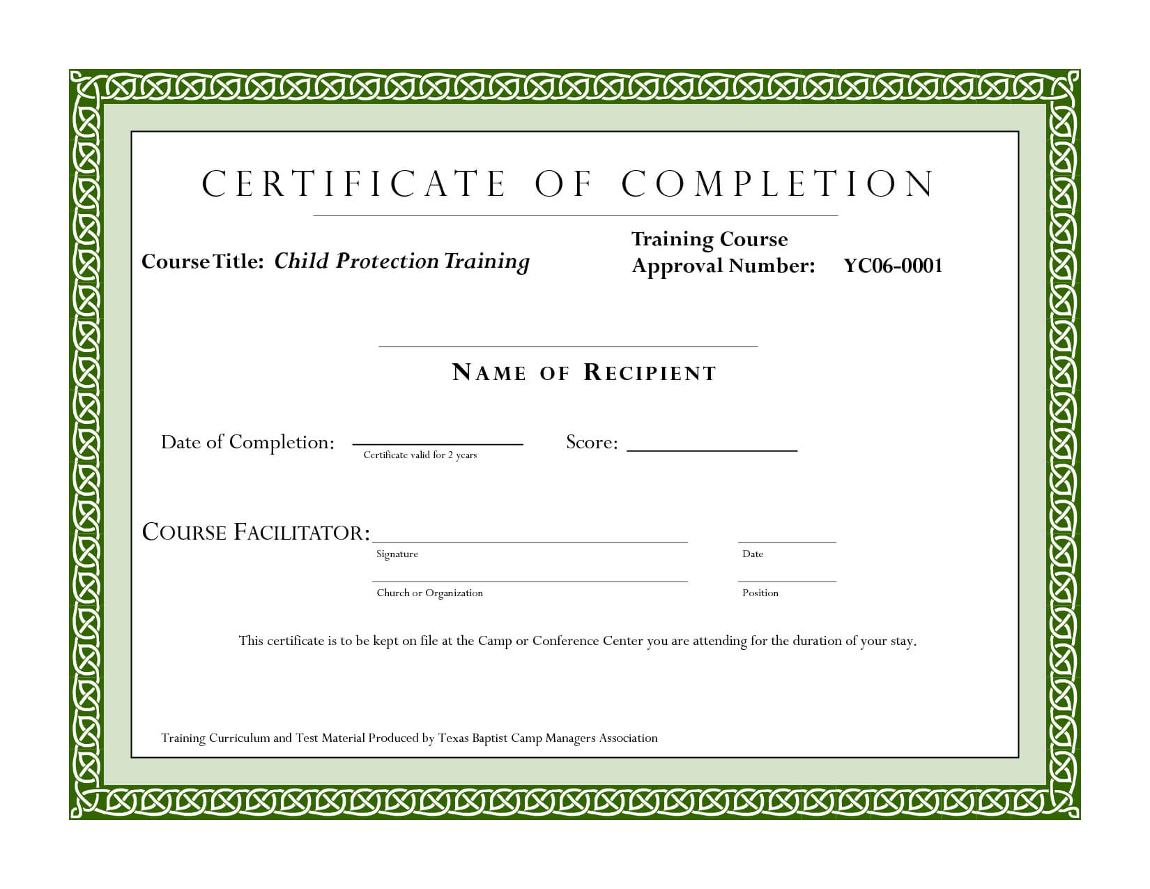 Course Completion Certificate Template | Certificate Of in Training Certificate Template Word Format
