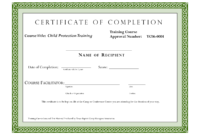 Course Completion Certificate Template | Certificate Of intended for Class Completion Certificate Template