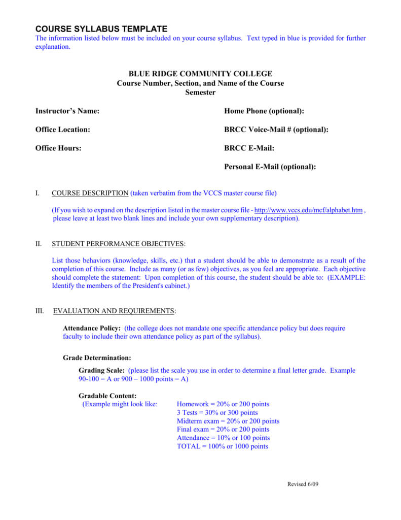 Course Syllabus Template – Blue Ridge Community College Inside Blank Syllabus Template