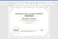 Create A Certificate Of Recognition In Microsoft Word pertaining to Word Template Certificate Of Achievement