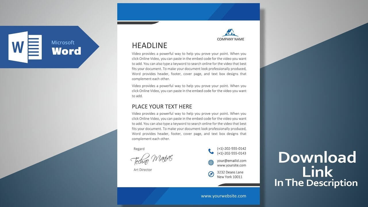 Create A Modern Professional Letterhead | Free Template | Ms Word  Letterhead Tutorial Version 2.0 inside Free Letterhead Templates For Microsoft Word