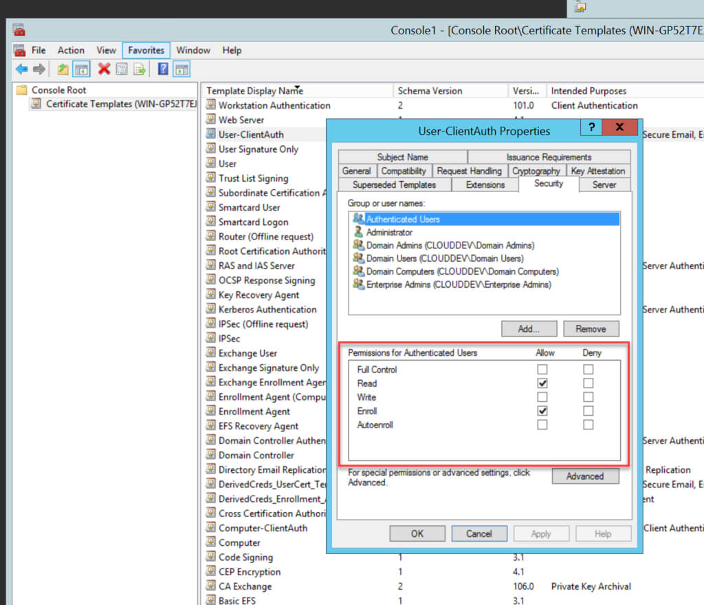 Creating The Certificate Templates Inside Active Directory Certificate Templates