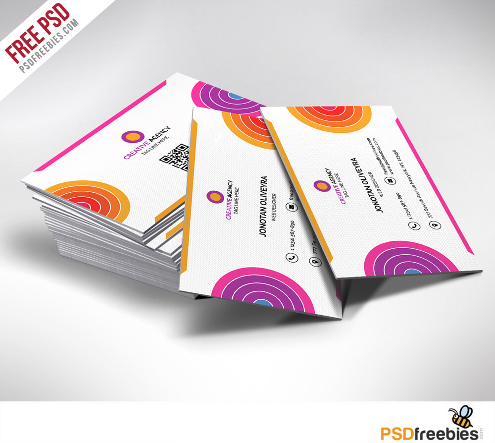 Creative And Colorful Business Card Free Psd | Psdfreebies in Creative Business Card Templates Psd