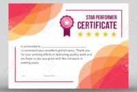 Creative Framed Print Ready Star Performer Certificate With Floral.. inside Star Performer Certificate Templates