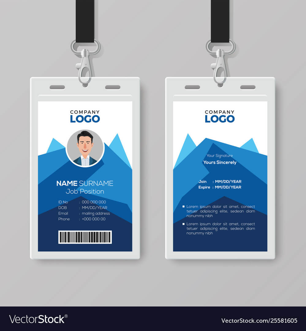 Creative Id Card Template With Abstract Blue regarding Id Card Template Ai