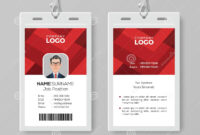 Creative Id Card Template With Abstract Red Background Stock regarding Conference Id Card Template