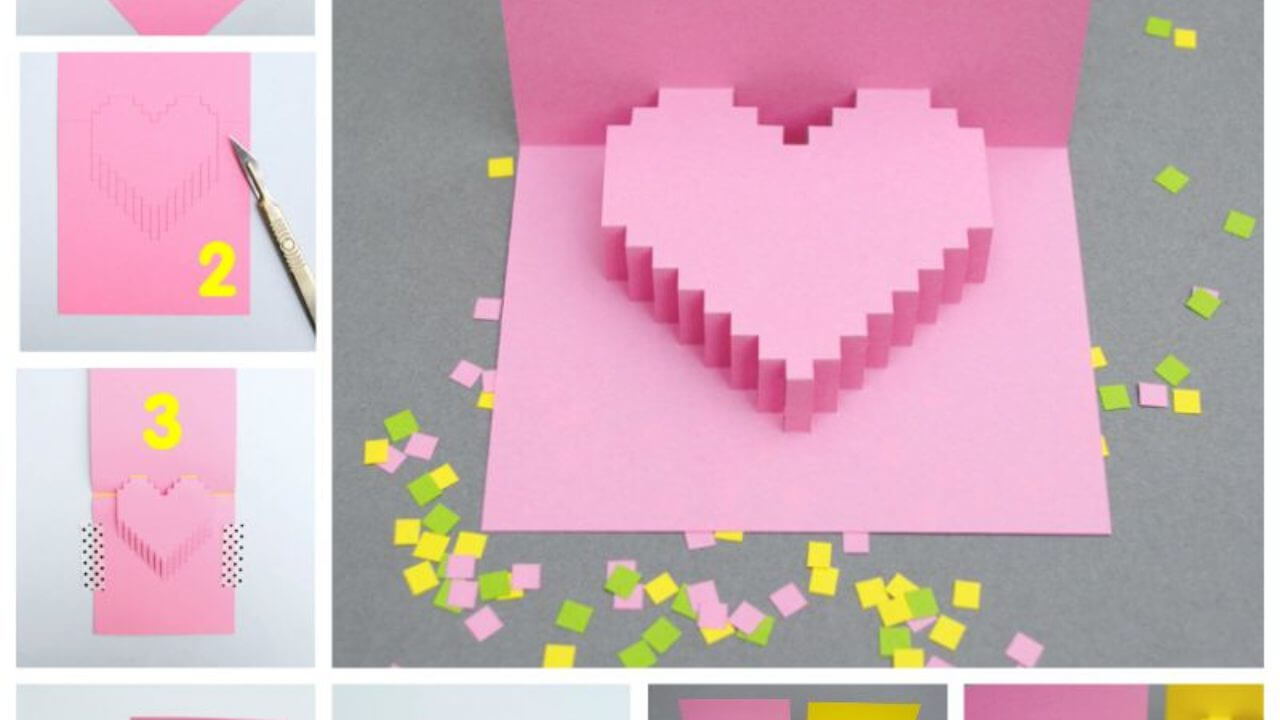 Creative Ideas - Diy Pixel Heart Popup Card within Pixel Heart Pop Up Card Template