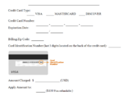 Credit Card Authorization Form Template | Credit Card with regard to Credit Card Billing Authorization Form Template