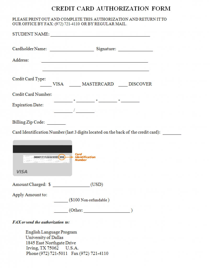 Credit Card Authorization Form Template   Credit Card with regard to Credit Card Billing Authorization Form Template