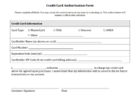 Credit Card Authorization Form Templates [Download] within Credit Card Statement Template Excel