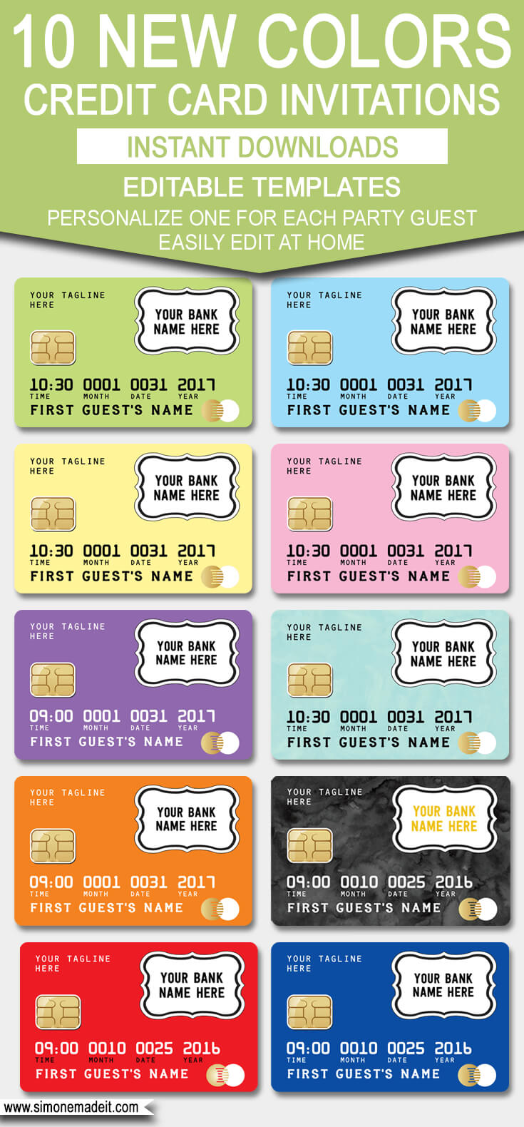 Credit Card Invitation Template – New Colors! | Scavenger Intended For Credit Card Template For Kids