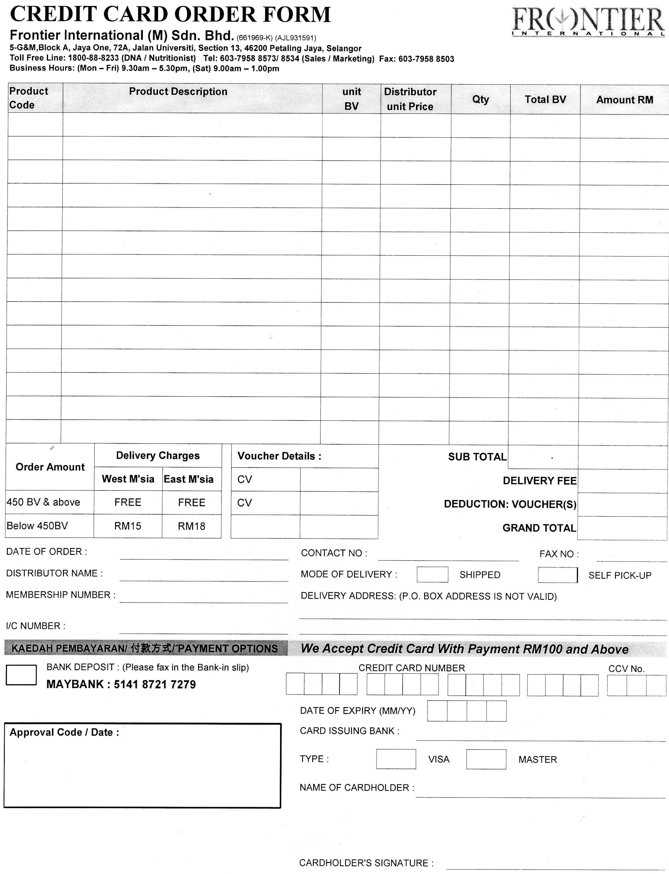 Credit Card Order Form Template ] - Credit Card Order Form with regard to Order Form With Credit Card Template