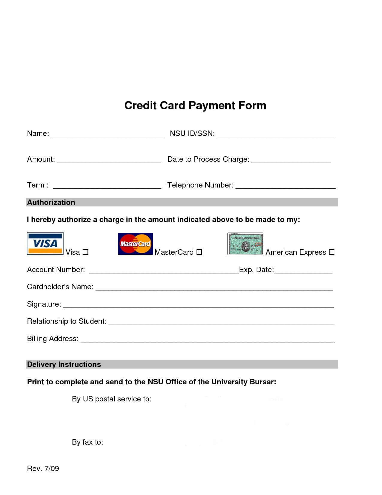 Credit Card Processing Form | Words, Cards, Web Design throughout Order Form With Credit Card Template