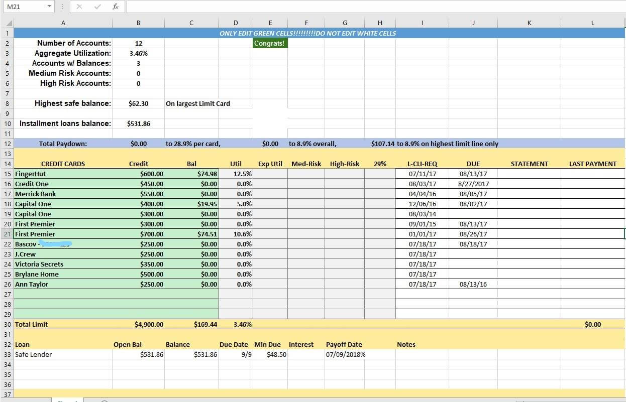 Credit Card Utilization Tracking Spreadsheet - Credit Warriors Intended For Credit Card Payment Spreadsheet Template