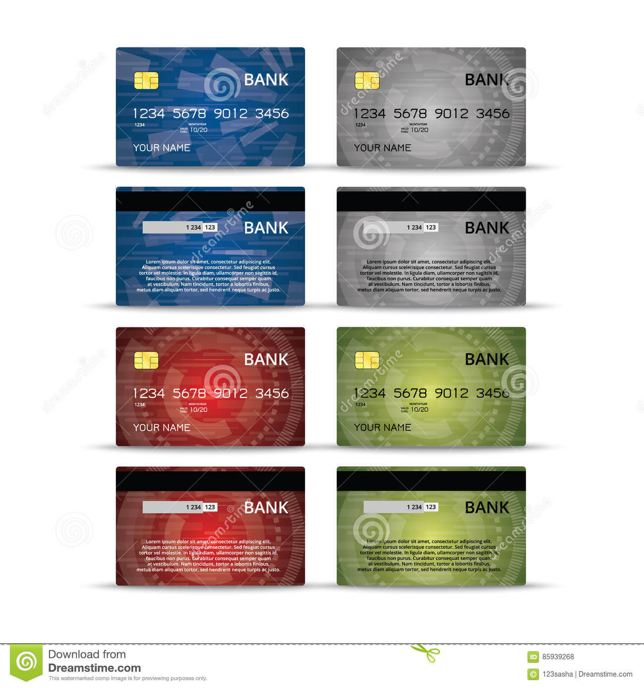 Credit Or Debet Cards Design Set Stock Vector – Illustration Throughout Credit Card Templates For Sale