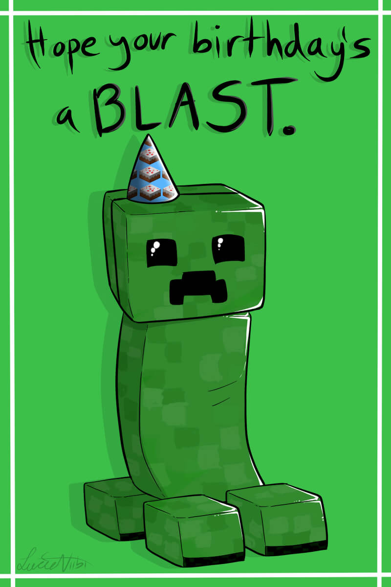Creeper Birthday Cardlucieniibi.deviantart On In Minecraft Birthday Card Template