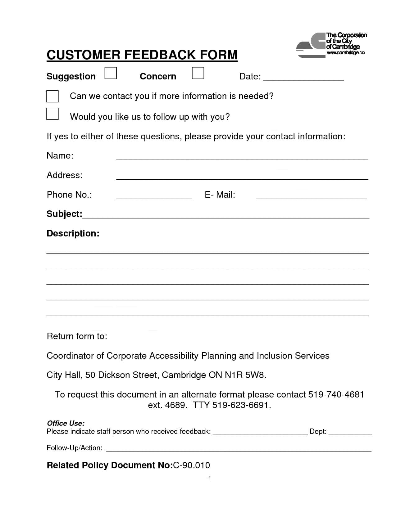 Customer Contact Form | Customer Feedback Form (Pdf Download With Regard To Word Employee Suggestion Form Template