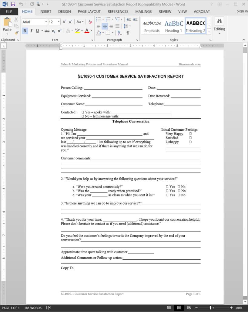 Customer Service Satisfaction Report Template | Sl1090 1 Intended For Service Review Report Template