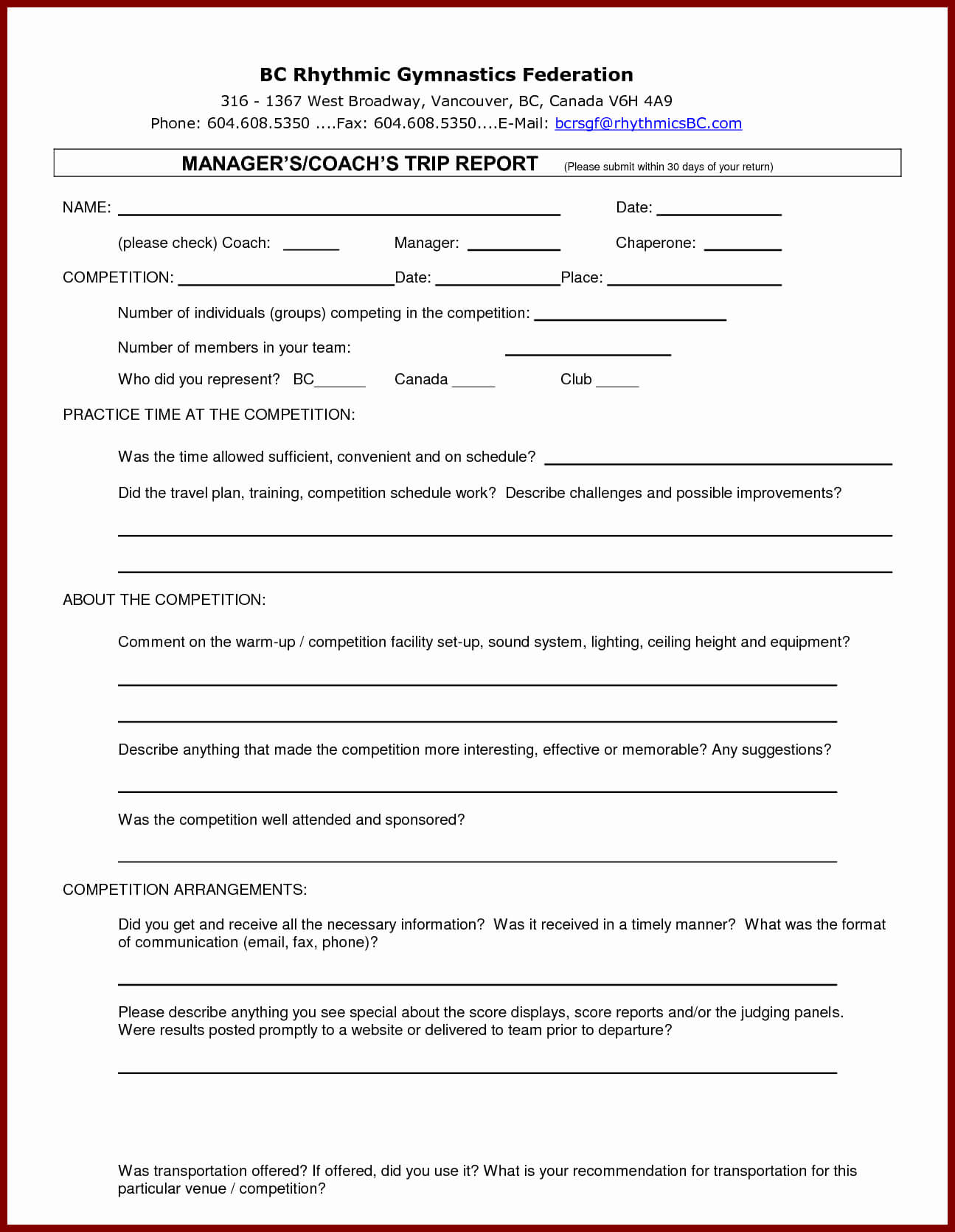 Customer Visit Report Template Free Download Throughout Customer Visit Report Template Free Download