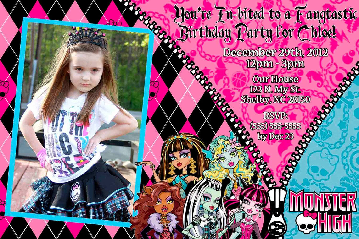 Custom+Monster+High+Invitation+Or+Thank+You+Card+By+ within Monster High Birthday Card Template