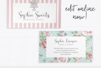Cute Business Card Editable Bakery Template Bow Cake Clipart throughout Cake Business Cards Templates Free