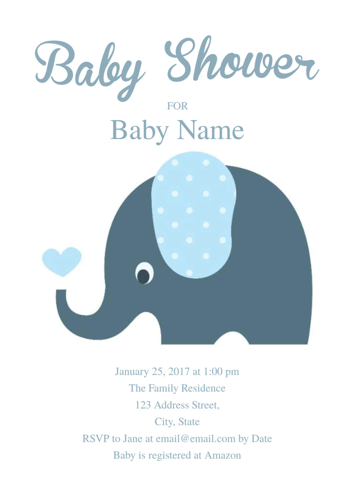 Cute Elephant Baby Shower Invitation Template | Free with Blank Elephant Template
