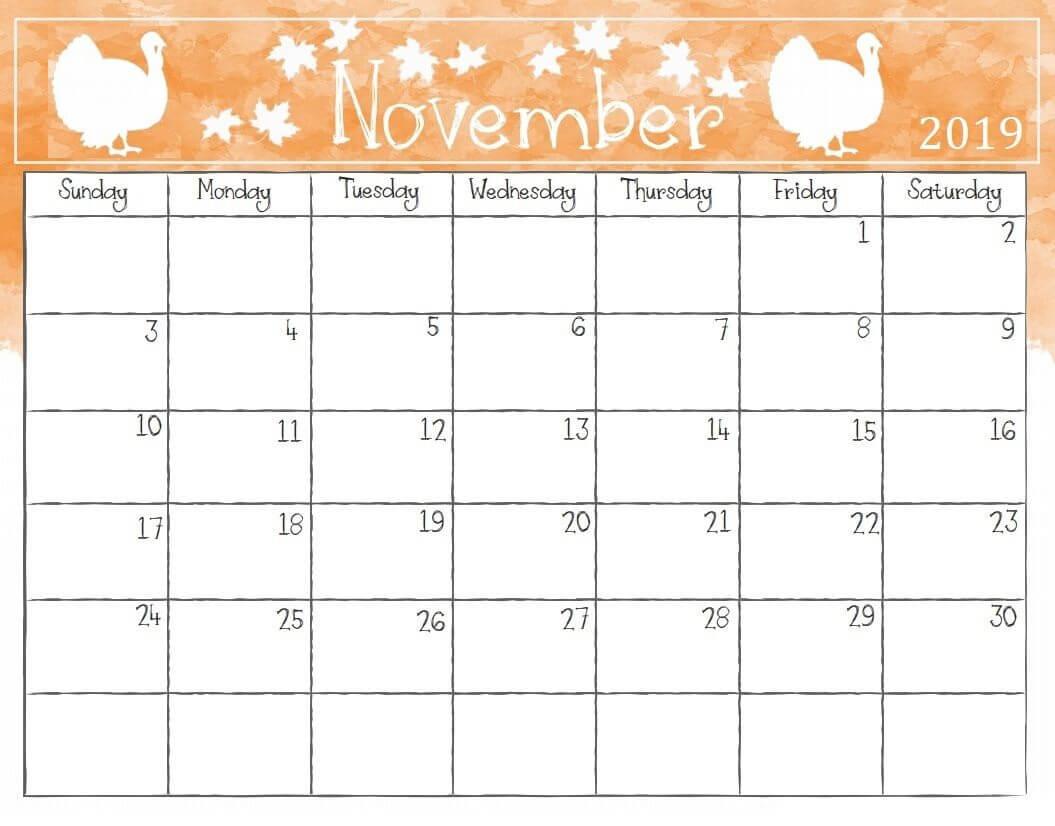 Cute November 2019 Calendar Printable Wallpaper For Kids intended for Blank Calendar Template For Kids