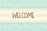 Cute Pastel Mint And Yellow With Laces Welcome Background Banner.. with regard to Welcome Banner Template