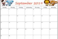 Cute September 2019 Calendar For Kids – Printable Calendar with Blank Calendar Template For Kids
