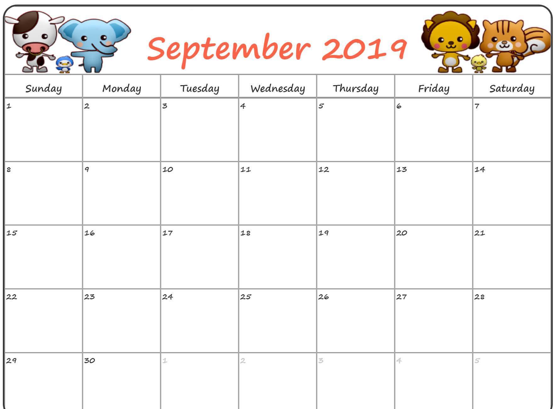 Cute September 2019 Calendar For Kids - Printable Calendar with Blank Calendar Template For Kids