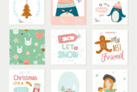 Cute Vector Christmas Cards And Stickers Stock Vector pertaining to Christmas Note Card Templates
