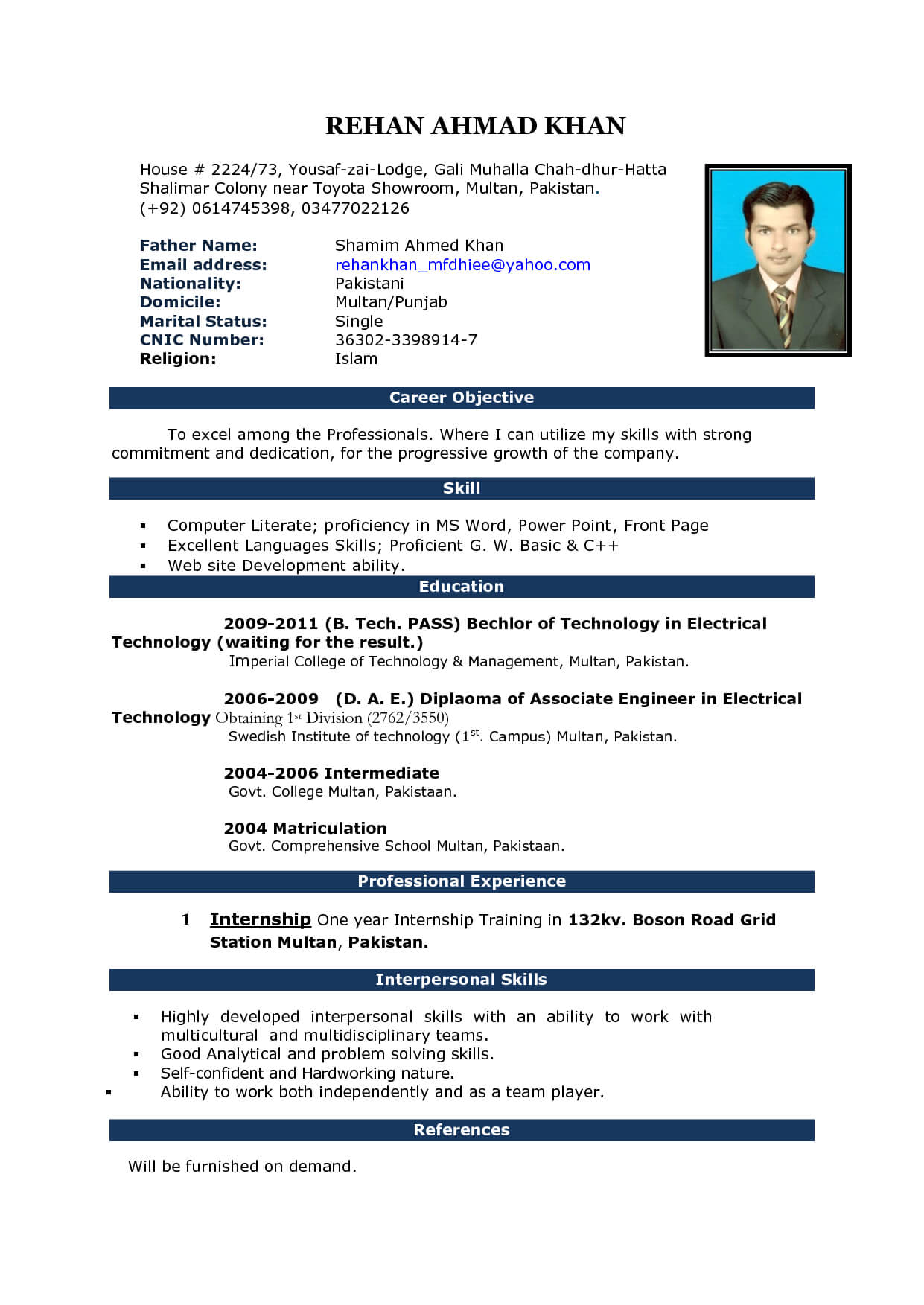 Cv Word Document Template Inside Simple Resume Template Microsoft Word