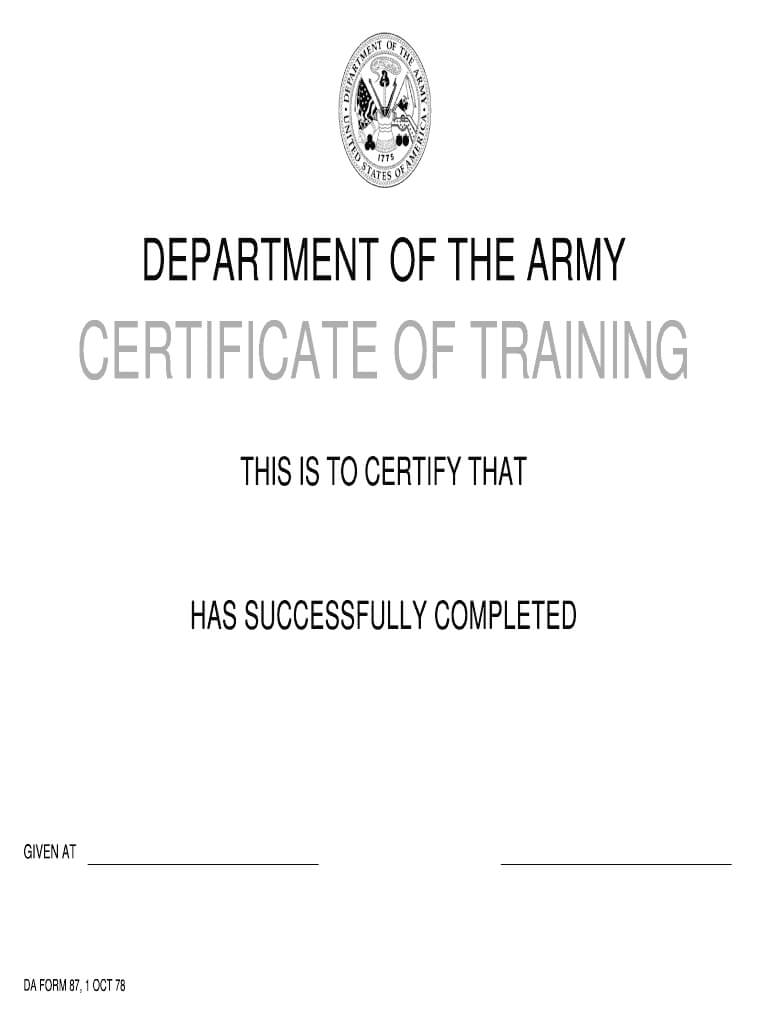 Da Form 87 - Fill Online, Printable, Fillable, Blank   Pdffiller with regard to Army Certificate Of Completion Template