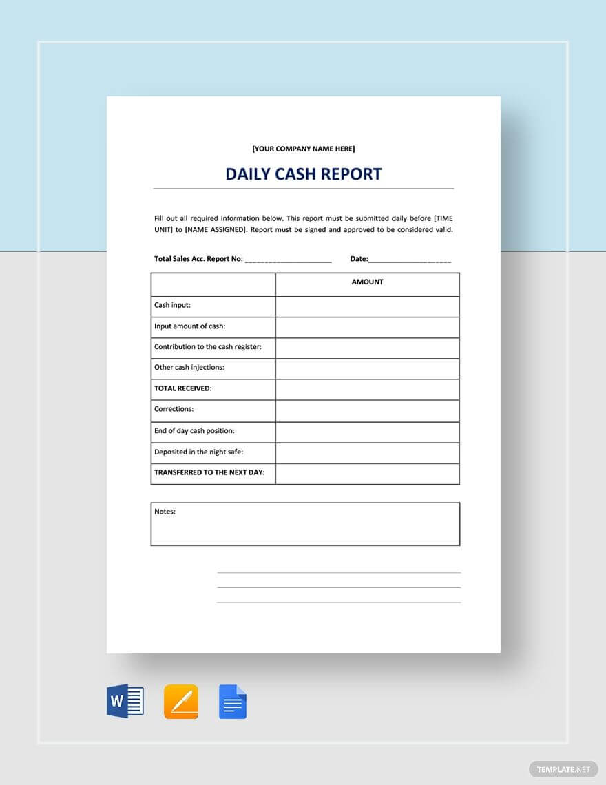 Daily Cash Report | Templates, Report Template, Cash Management throughout Cash Position Report Template