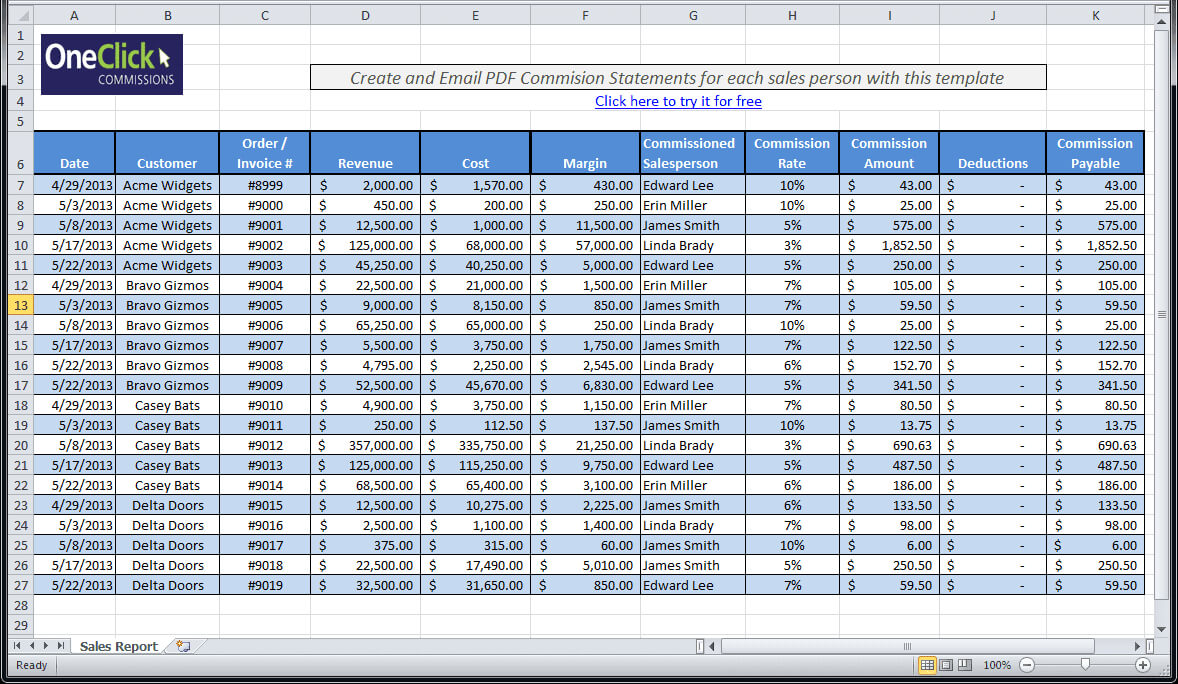 Daily Sales Call Report Template Free Download And Daily In Excel Sales Report Template Free Download