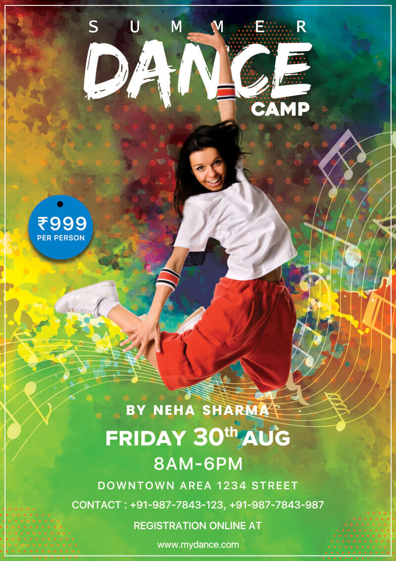 Dance Camp Flyer Free Psd Template   Psddaddy Inside Dance Flyer Template Word