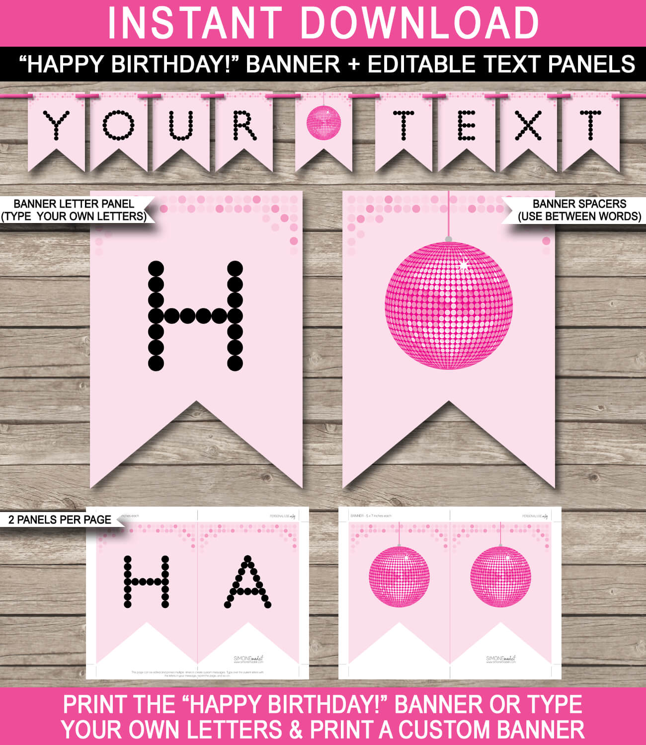 Dance Party Banner Template – Pink intended for Diy Party Banner Template
