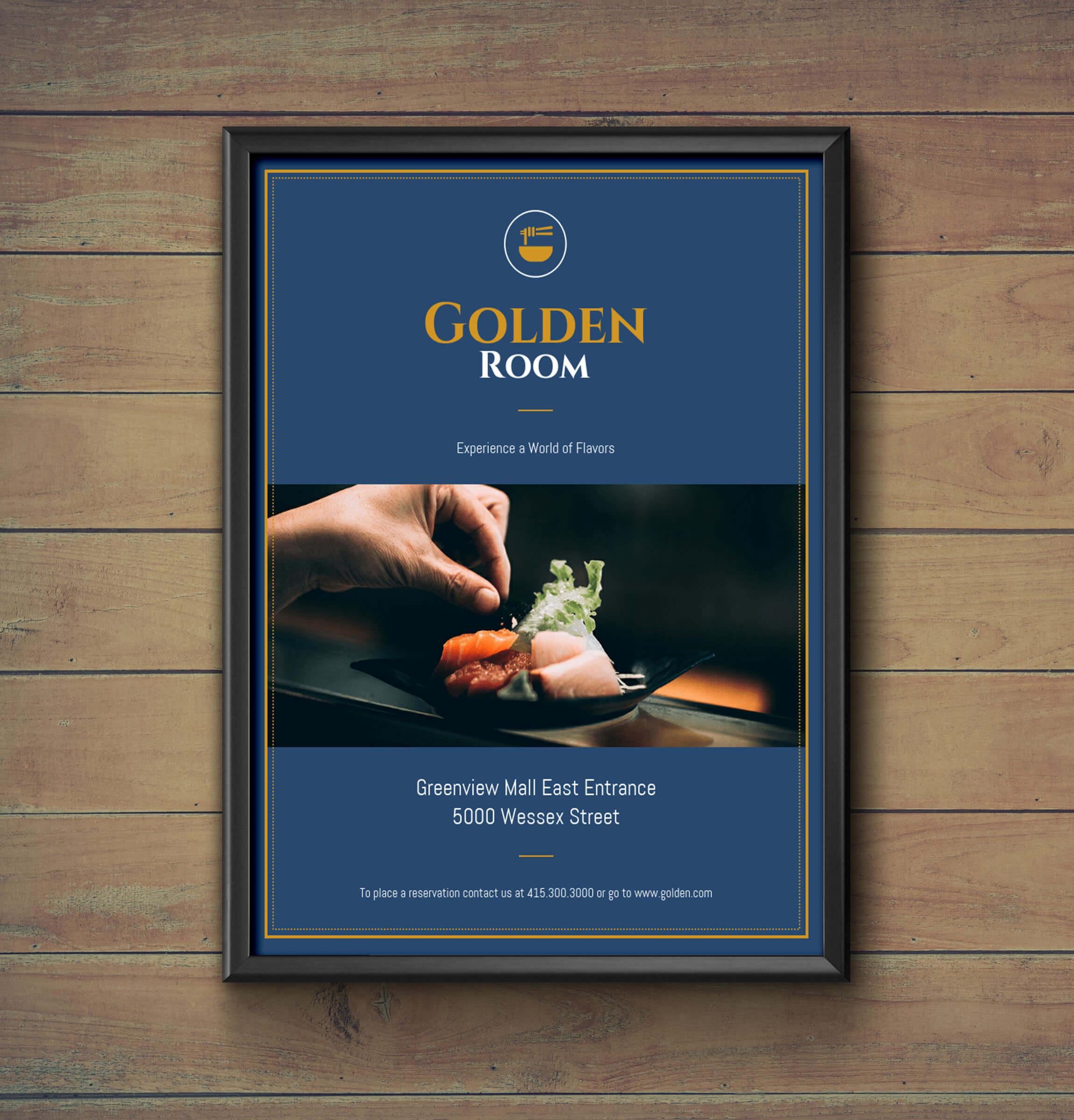 Dark Blue & Gold Fancy Restaurant Flyer Idea - Venngage for Fancy Brochure Templates