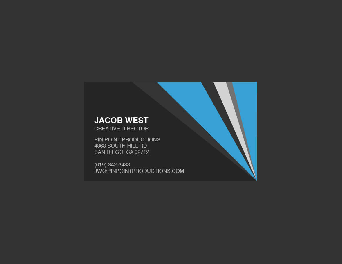 Dark Gray And Blue Generic Business Card Template With Generic Business Card Template