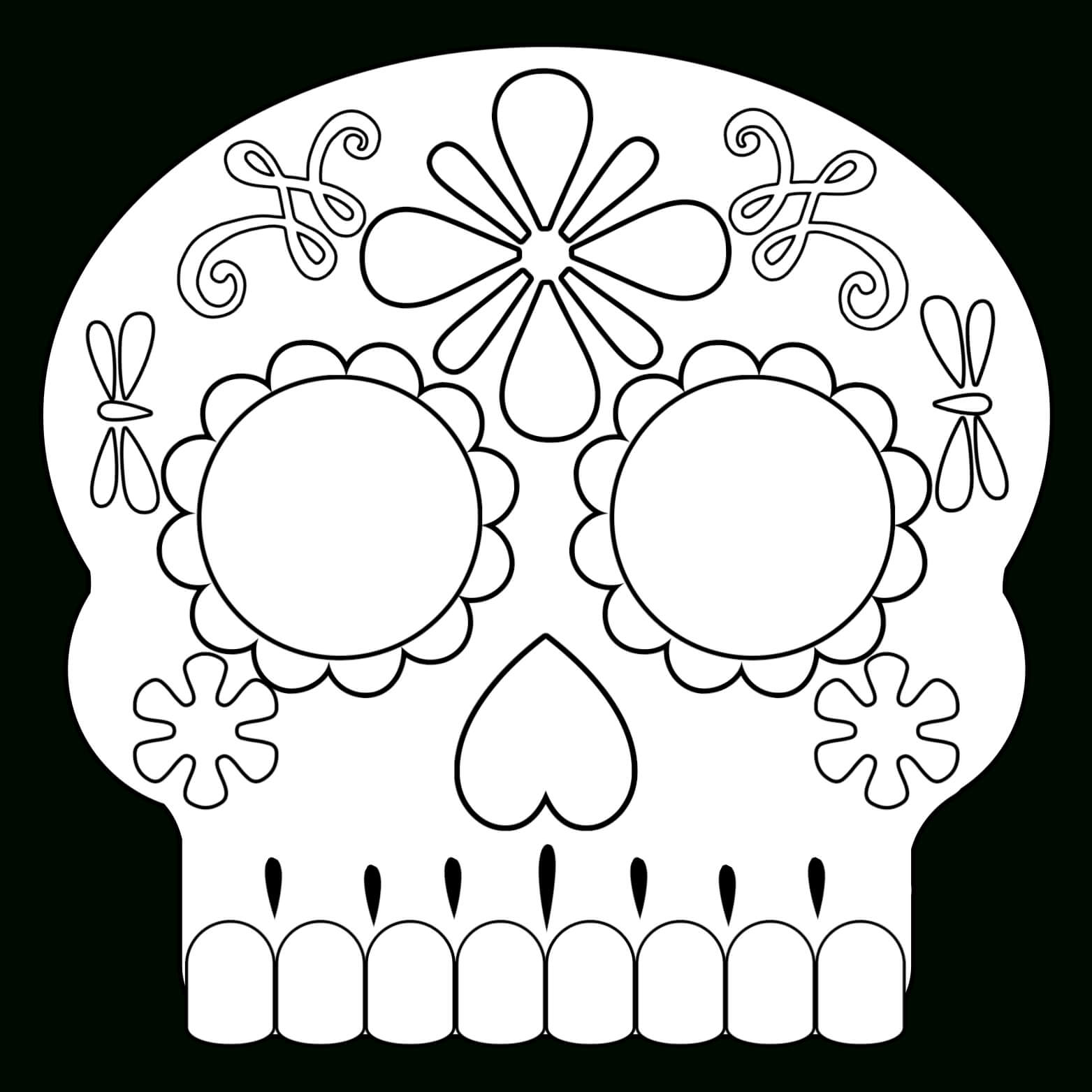 Day Of The Dead Masks Sugar Skulls Free Printable - Paper throughout Blank Sugar Skull Template