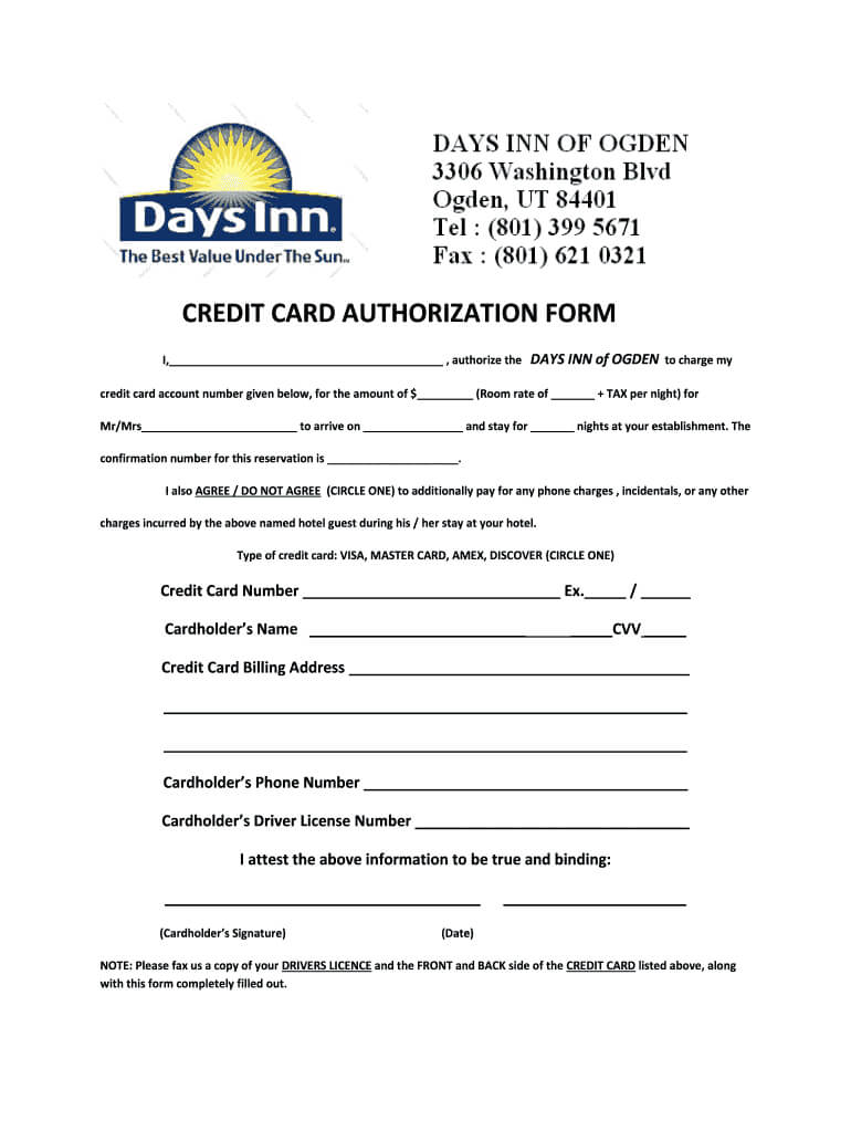 Days Inn Montrose Colorado Credit Card Authorization - Fill Throughout Hotel Credit Card Authorization Form Template