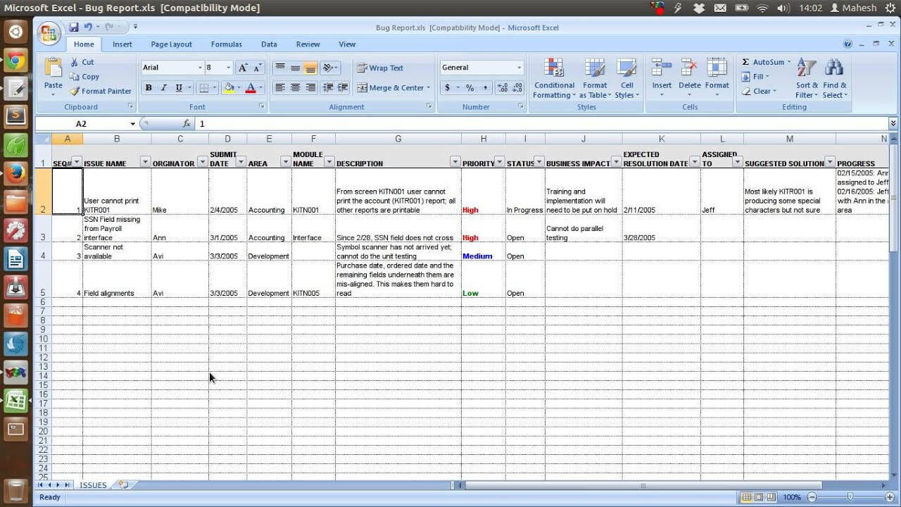Defect Tracking Template Xls With Regard To Bug Report Template Xls