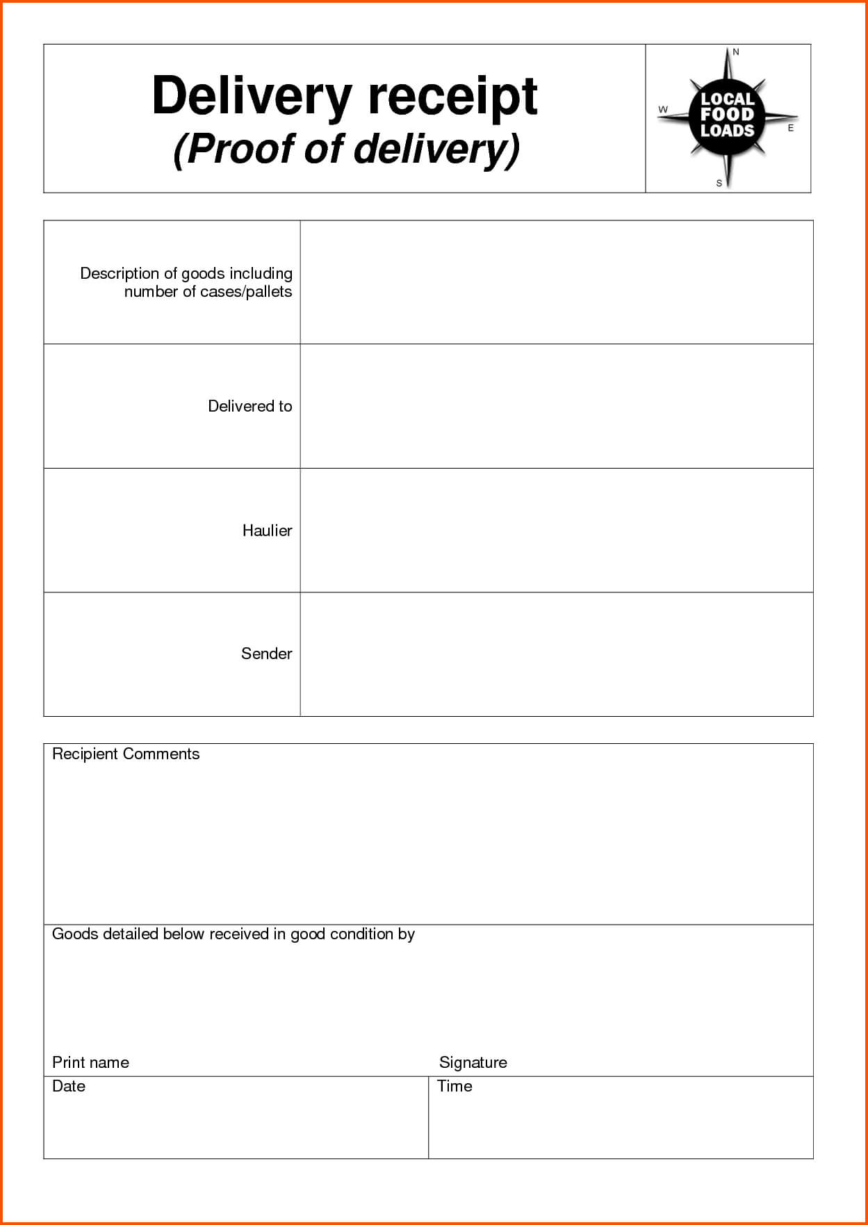 Delivery Document Receipt Template Sample As A Proof Of Pertaining To Proof Of Delivery Template Word