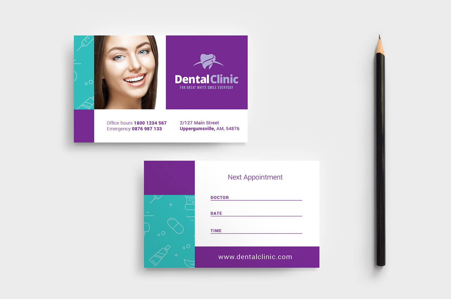 Dental Clinic Appointment Card Template In Psd, Ai & Vector Regarding Dentist Appointment Card Template